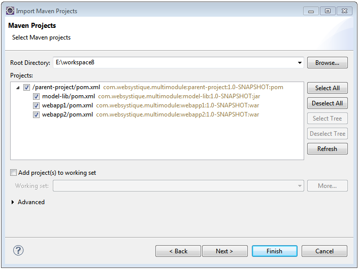 Creating Maven multi-module project with Eclipse - WebSystique