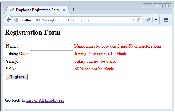 Spring 4 MVC+Hibernate 4+MySQL+Maven integration example using