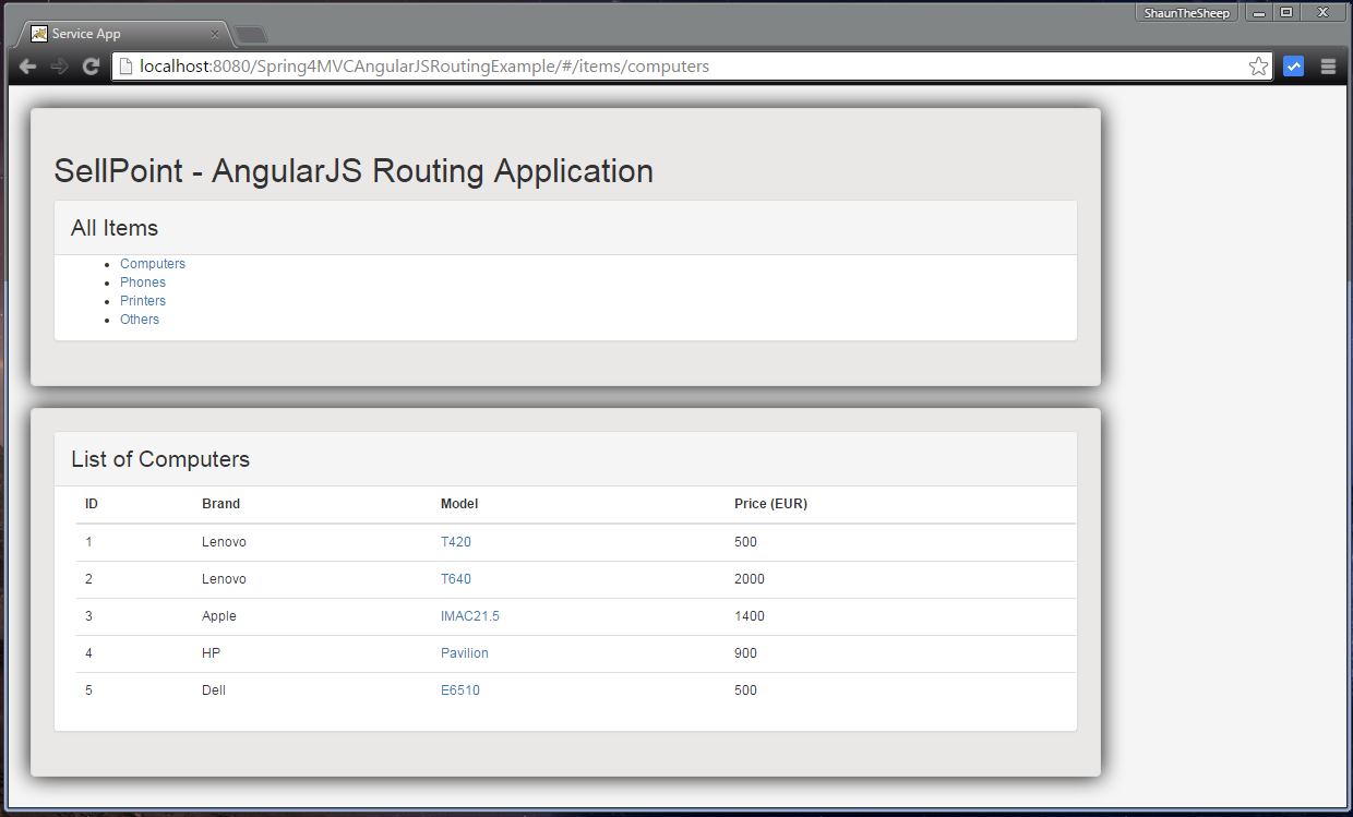 Spring 4 MVC+AngularJS Routing Example using ngRoute - WebSystique