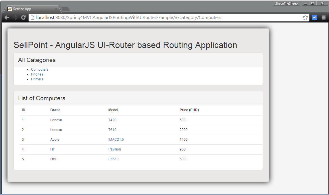 spring 4 mvc angularjs routing example using ui router websystique