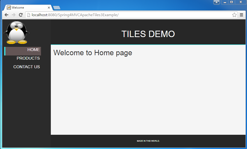 Spring 4 MVC+Apache Tiles 3 Example - WebSystique